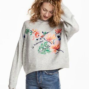 """H&M """"La Botanique"""" hooded embroidered knit sweater"""